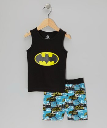Black Batman Tank Pajama Set - Boys