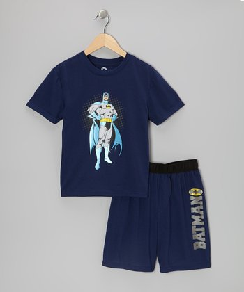Navy Standing Batman Pajama Set - Boys