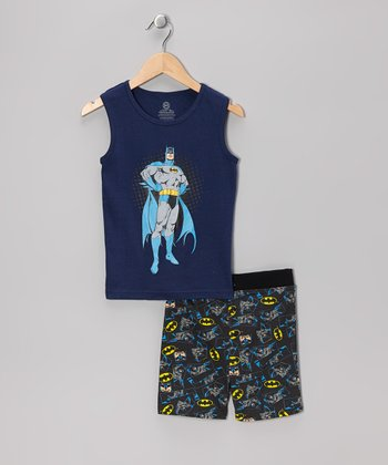 Navy & Gray Standing Batman Tank Pajama Set - Boys