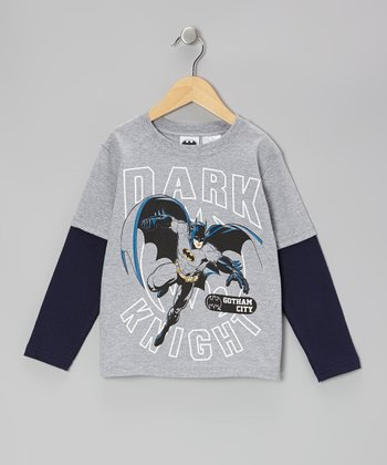 Gray & Navy 'Dark Knight' Layered Tee - Kids
