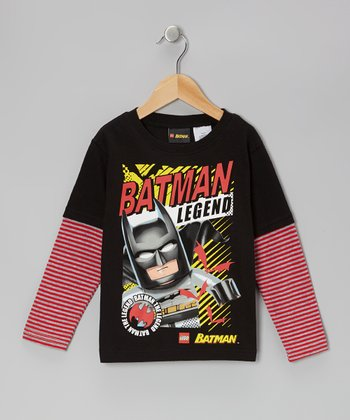 Black & Pink LEGO 'Batman' Layered Tee - Kids