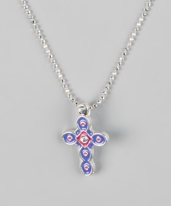 Purple Cross Pendant Necklace