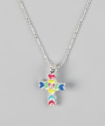 Blue & Yellow Cross Pendant Necklace