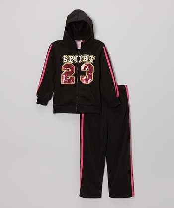 Black 'Sport 23' Fleece Zip-Up Hoodie Set - Girls