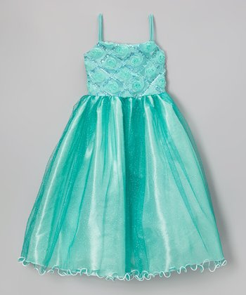Mint Rosette Lattice Glitter Dress - Infant, Toddler & Girls