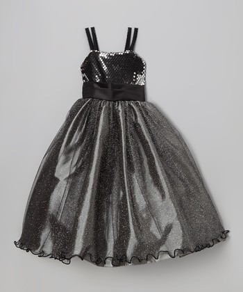 Black Sequin Glitter Ruffle Dress - Infant, Toddler & Girls