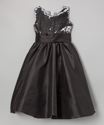 Black & Silver Sequin Satin Dress - Infant, Toddler & Girls
