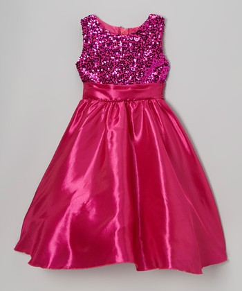 Fuchsia Sequin Satin Dress - Infant, Toddler & Girls