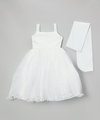 White Sequin Ruffle Dress & Shawl - Infant, Toddler & Girls