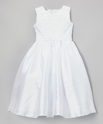 White Sequin Satin Dress - Infant, Toddler & Girls