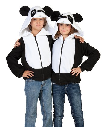 Black & White Parker the Panda Hoodie - Kids