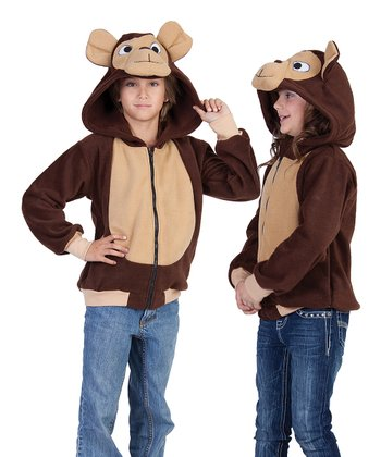 Brown Morgan the Monkey Hoodie - Kids
