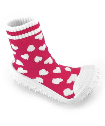 Pink Heart Gripper Socks