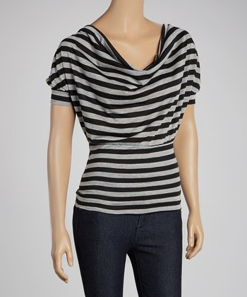Gray & Black Stripe Cowl Neck Top