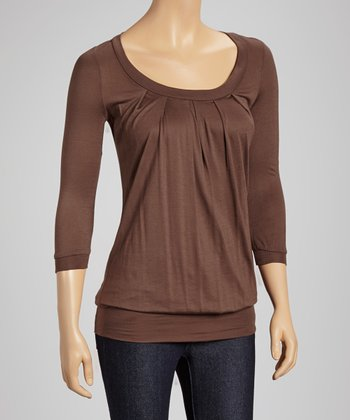 Brown Scoop Neck Top