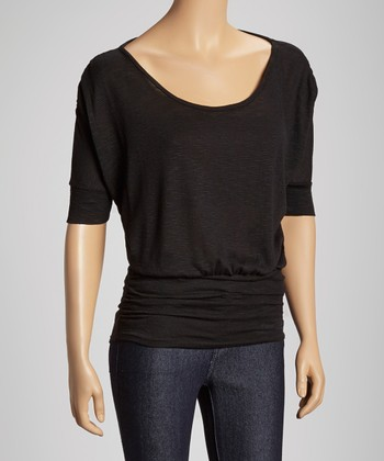 Black Ruched Scoop Neck Top