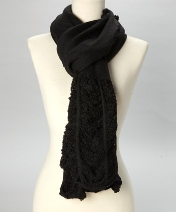 Black Ruched Scarf
