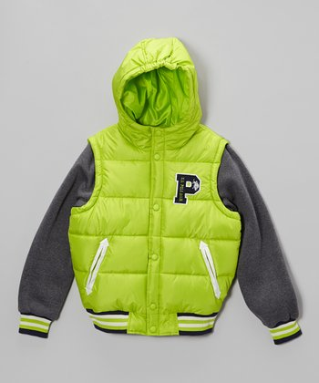 Lime Green Heavyweight Knit Sleeves Parka