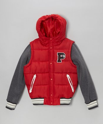 Red Heavyweight Knit Sleeves Parka