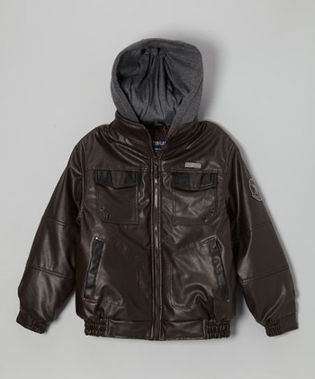 Java Brown Coated-Fleece Hood Jacket