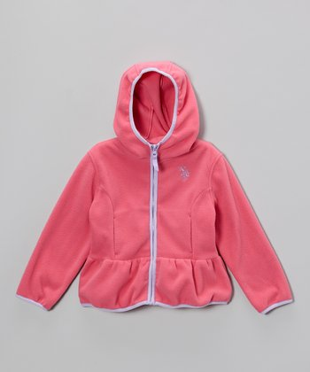 Medium Pink Polar Fleece Ruffle Hoodie