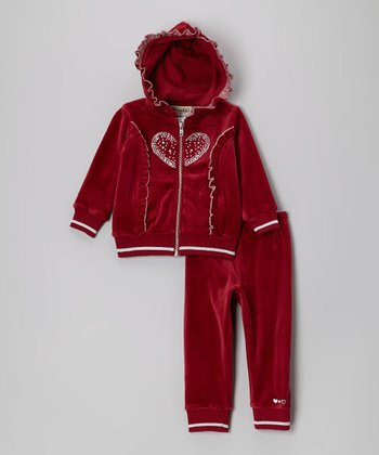 Burgundy Heart Ruffle Velour Zip-Up Hoodie & Pants - Infant & Toddler