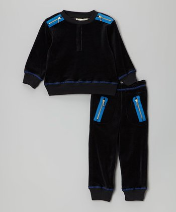Black Velour Pullover & Pants - Infant
