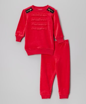 Raspberry Velour Pullover & Pants - Infant & Toddler
