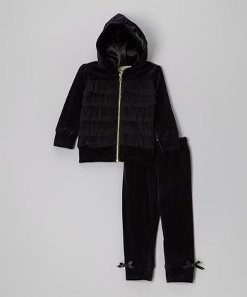 Black Velour Zip-Up Hoodie & Bow Pants - Infant & Toddler