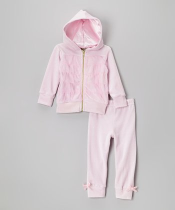 Light Pink Ruffle Velour Zip-Up Hoodie & Bow Pants - Infant & Toddler