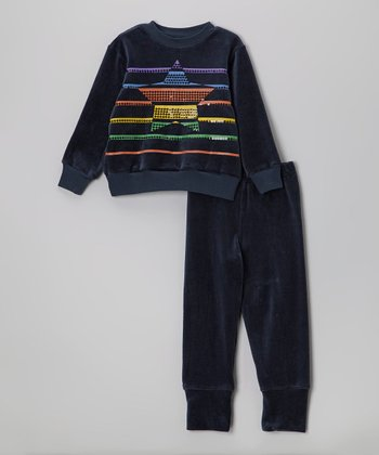 Navy Stripe Star Velour Pullover & Pants - Infant & Toddler