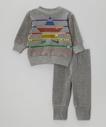 Light Gray Stripe Star Velour Pullover & Pants - Infant & Toddler