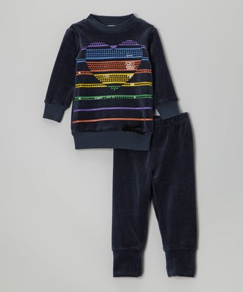 Navy Stripe Heart Velour Pullover & Pants - Infant & Toddler