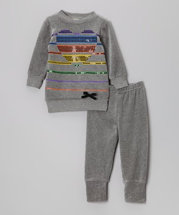 Light Gray Stripe Heart Velour Pullover & Pants - Toddler