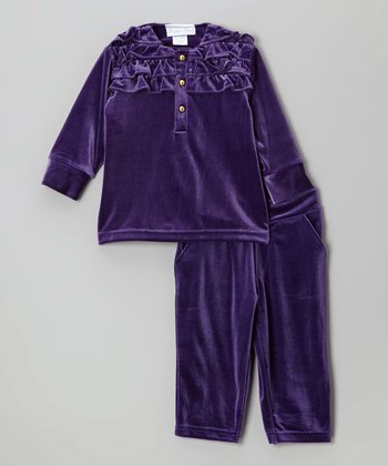 Purple Velour Tunic & Leggings - Infant, Toddler & Girls