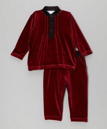 Burgundy Velour Top & Pants - Infant, Toddler & Girls