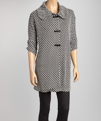 Black & White Geometric Coat