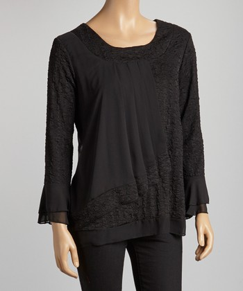 Black Pleated Scoop Neck Top
