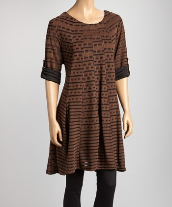 Brown & Black Scoop Neck Tunic