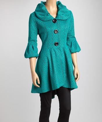Green & Black Geometric Floral Lace Jacket