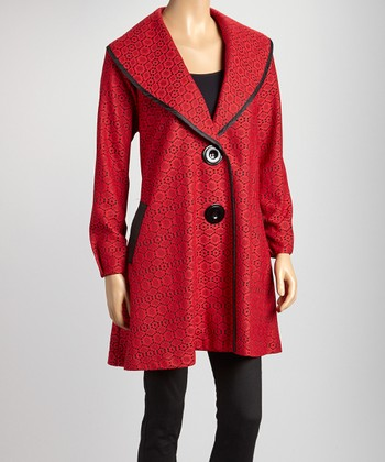 Red & Black Geometric Floral Lace Double-Button Jacket