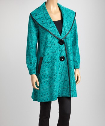Green & Black Geometric Lace Double-Button Jacket - Women & Plus