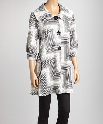 White & Black Stripe Zigzag Jacket