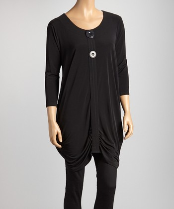 Black Ruched Button Tunic