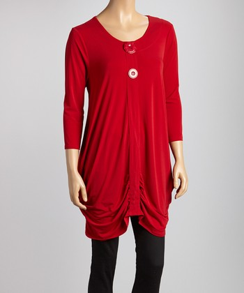Red Ruched Button Tunic
