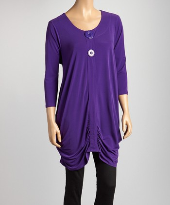 Purple Ruched Button Tunic