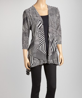 Black & White Geometric Open Cardigan - Women & Plus