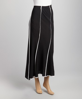 Black & White Piped Maxi Skirt