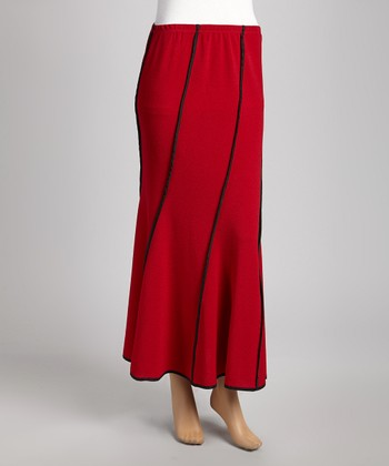 Red & Black Piped Maxi Skirt