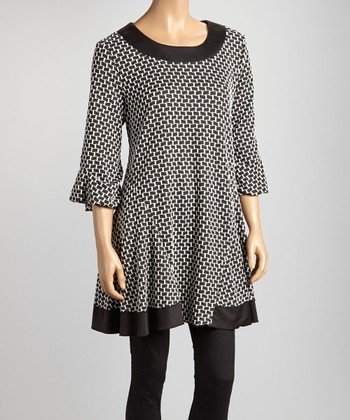 Ivory & Black Geometric Swing Tunic